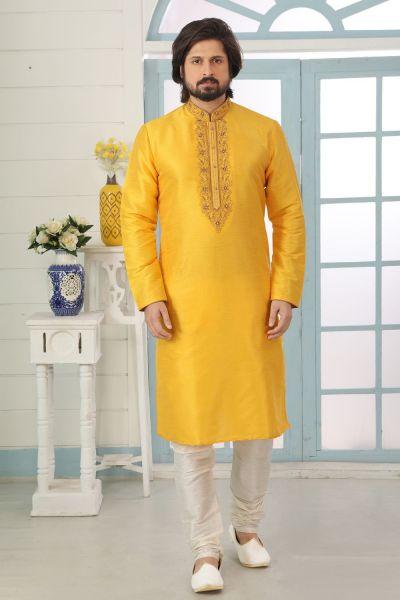 Yellow Art Banarasi Silk Kurta Pajama (NMK-5056)