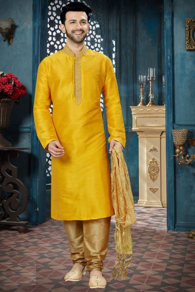 Yellow Art Dupion Mens Kurta Pajama (NMK-3835)