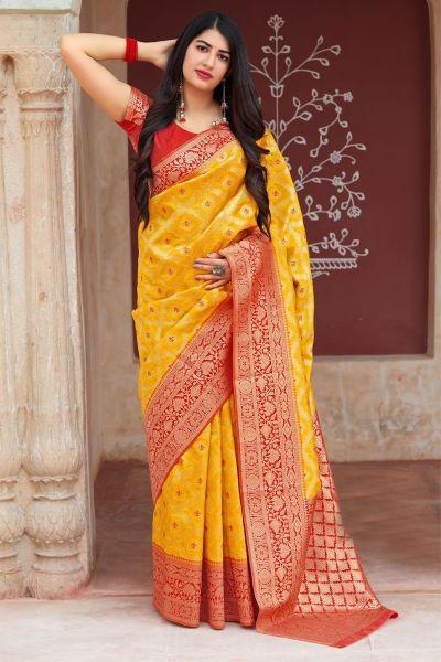 Yellow Banarasi Silk Festive Saree (NWSA-4368)