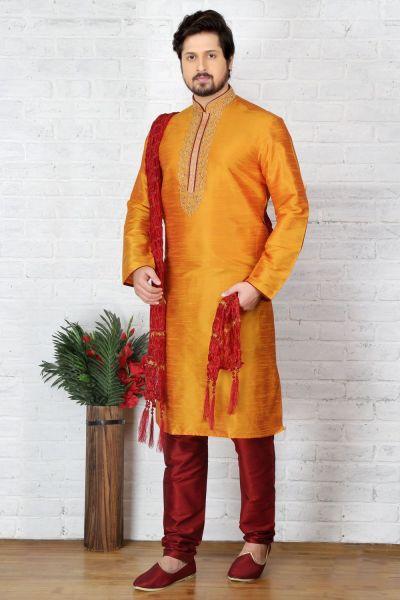 Yellow Dupion Art Silk Casual Kurta Pajama (NMK-3711)