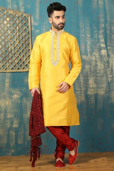 Yellow Dupion Art Silk Kurta Pajama (NMK-3309)