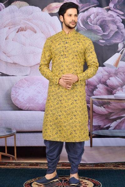 Yellow Fancy Cotton Kurta Pajama(NMK-4604)