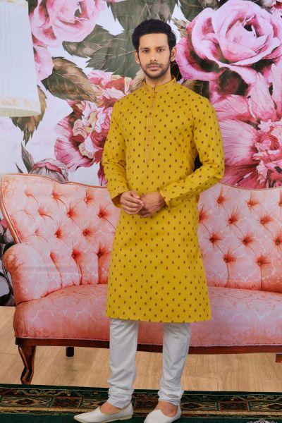 Yellow Fancy Cotton Mens Kurta Pajama(NMK-4611)