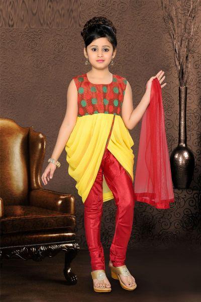 Yellow Georgette Dhoti Style Salwar Kameez (NFG-079)