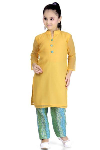 Yellow Georgette Girls Salwar Kameez (NFG-098)