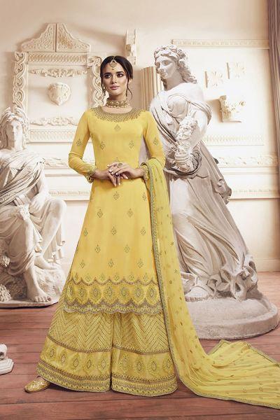 Yellow Georgette Salwar Kameez (NWS-5108)