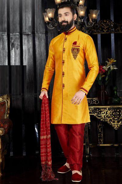 Yellow Giccha Silk Indo Western(NMK-3367)