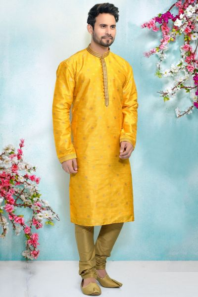 Yellow Jaquard Mens Kurta Pajama (NMK-4922)