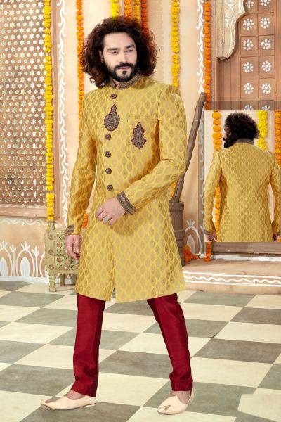 Yellow Jaquard Sherwani (NMK-4348)