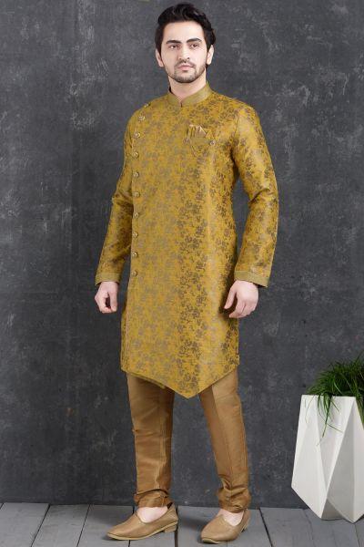 Yellow Jaquard Silk Brocade Indo Western Kurta (NMK-5015)