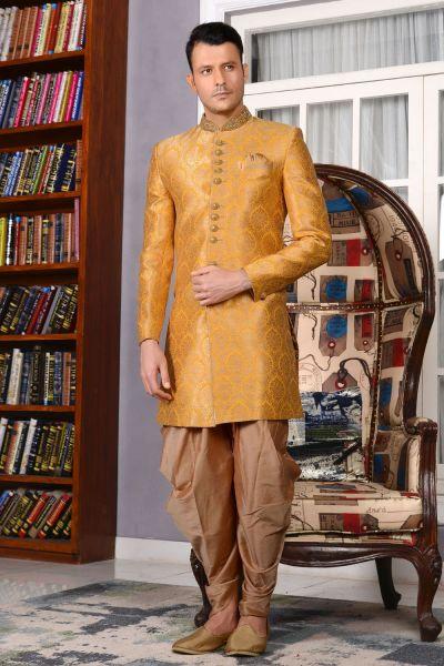 Yellow Jaquard Silk Brocade Indo western (NMK-3499)