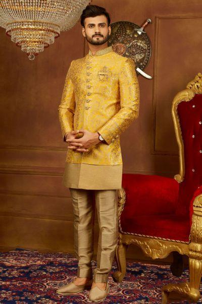 Yellow Jaquard Silk Brocade Indo Western (NMK-3936)