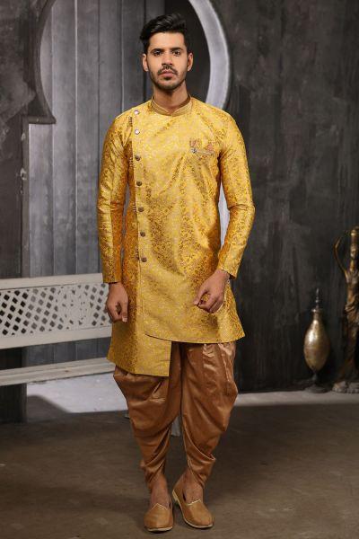 Yellow Jaquard Silk Brocade Indo Western (NMK-4460)