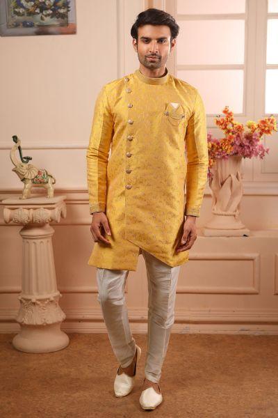 Yellow Jaquard Silk Brocade Indo Western (NMK-4465)