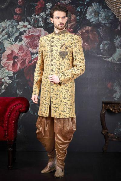 Yellow Jaquard Silk Brocade Indo Western (NMK-4555)