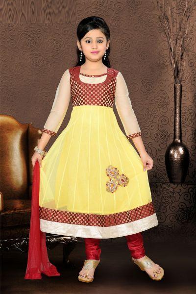 Yellow Net Girls Anarkali Kameez (NFG-066)