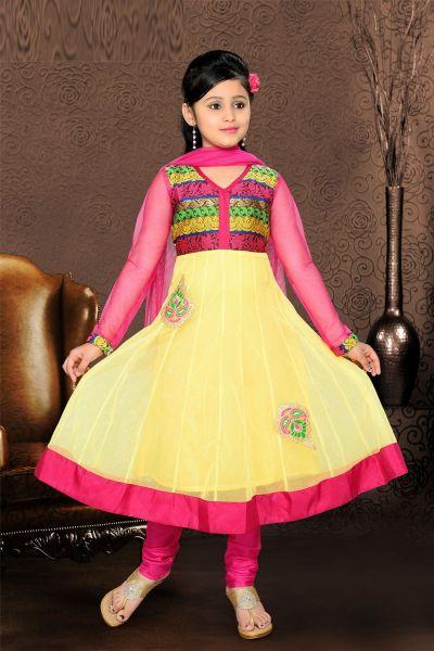 Yellow Net Girls Salwar Kameez (NFG-069)