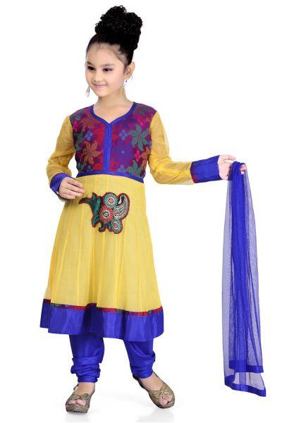 Yellow Net Girls Salwar Kameez (NFG-106)