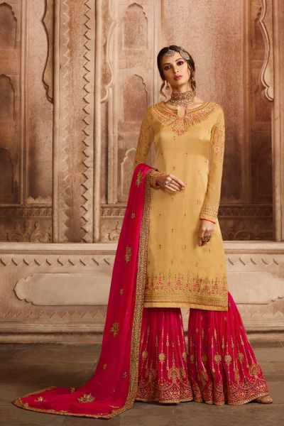 Yellow Party Wear Satin Georgette Sharara Suits (NWS-4597)