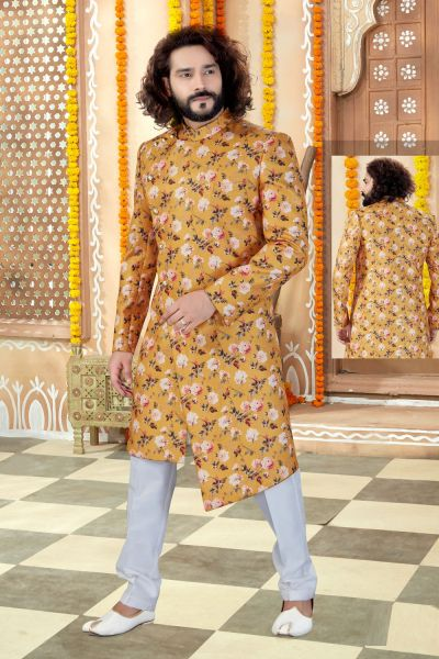 Yellow Printed Silk Indo Western (NMK-4310)